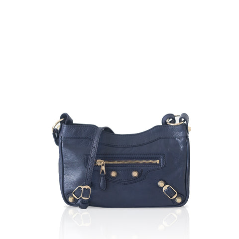 Balenciaga Navy Motocross Giant 12 Gold Hip Bag