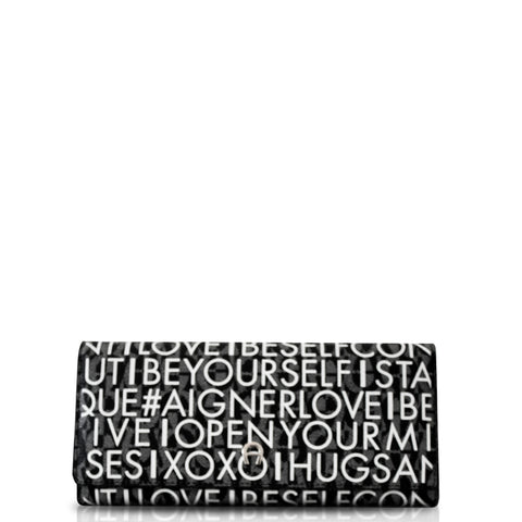Aigner Schein Flap Zip Long Alphabet Black White Wallet