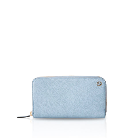 Gucci Light Blue Pebbled Leather Long Zip Around Wallet