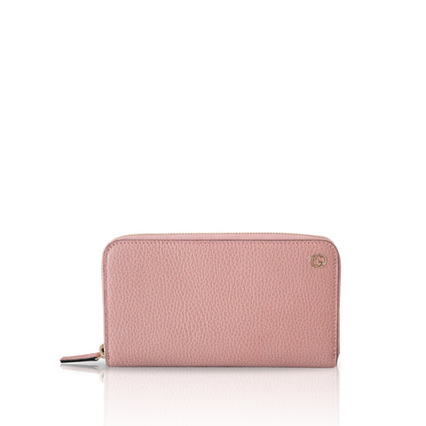 Gucci Pink Pebbled Leather Long Zip Around Wallet