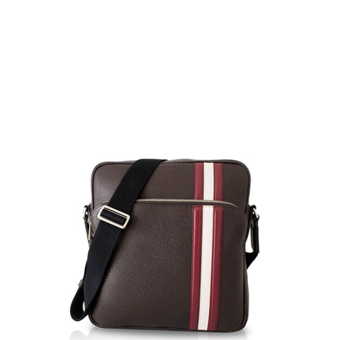 Bally Sorel Men's Grained Calf Leather Crossbody Bag in Brown