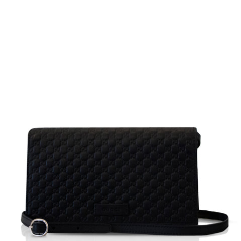 Microguccissima Leather Interlocking WOC Black
