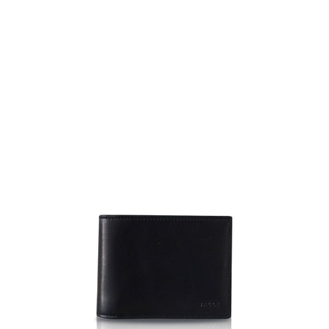 Telik Men's Leather Wallet Navy with Lines Black and White