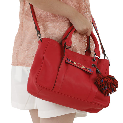 Longchamp 3D Massai Small Leather Satchel Red