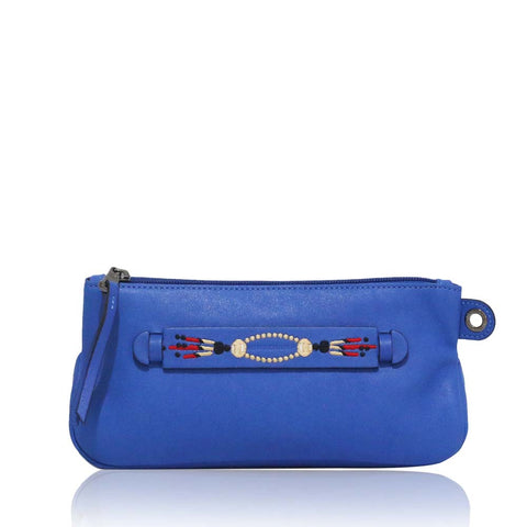 3D Massai Leather Clutch Blue