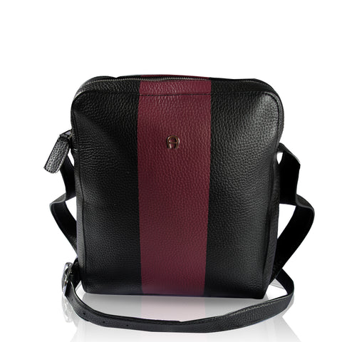 Aigner 142072 Luca Men Crossbody Bag In Black Red