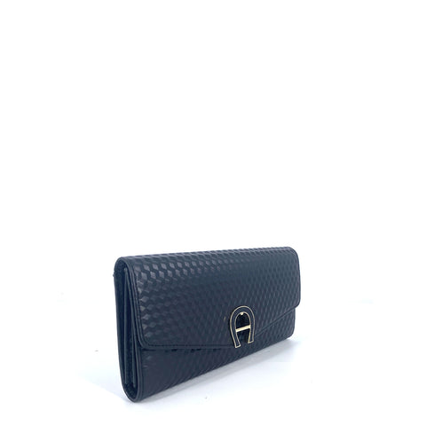 Aigner Genoveva Wallet in Embossed Leather Black