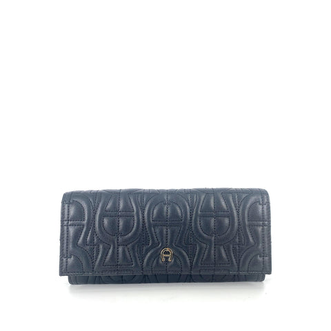 Aigner Logo Quilted Long Wallet Square Flap In Black