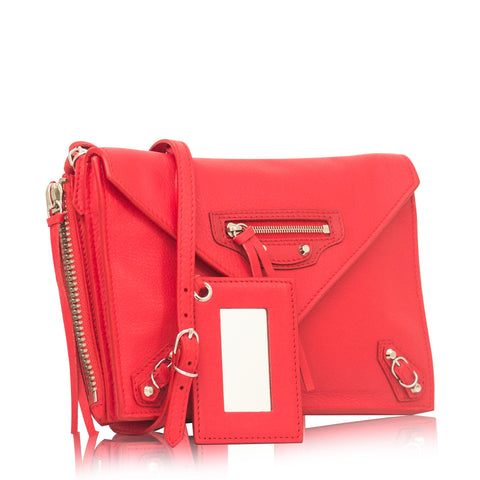 Balenciaga Papier Triple Zip Around Crossbody Rouge Tango