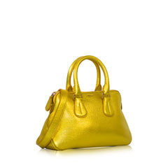 Bally Leather Mini Satchel Yellow Gold