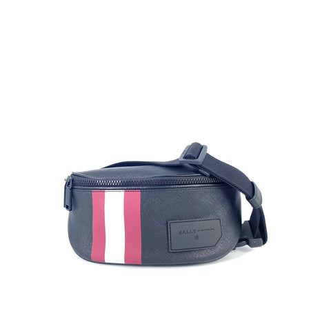 Bally Men's Sonni Canvas Bum Bag Black with Red Stripe
