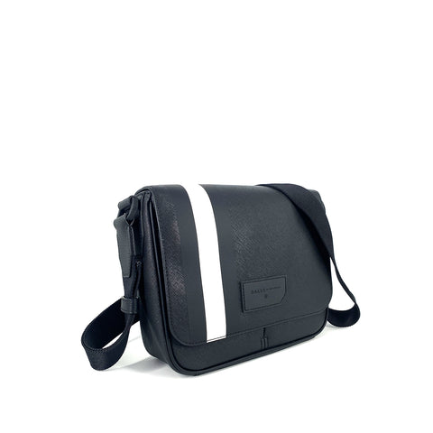 Bally Surier Coated Canvas Messenger Bag Black with White Stripe
