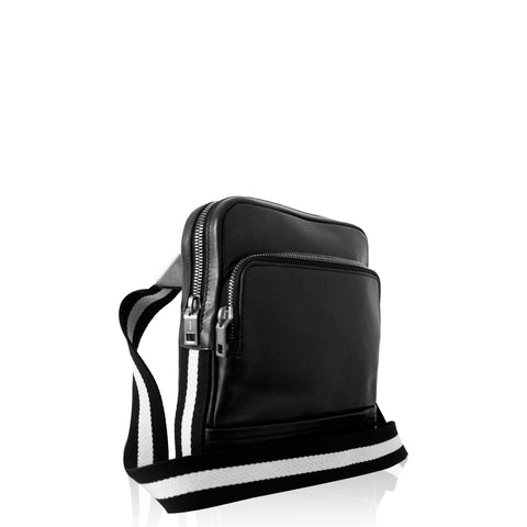 Men's Tersel Calf Leather Crossbody in Black
