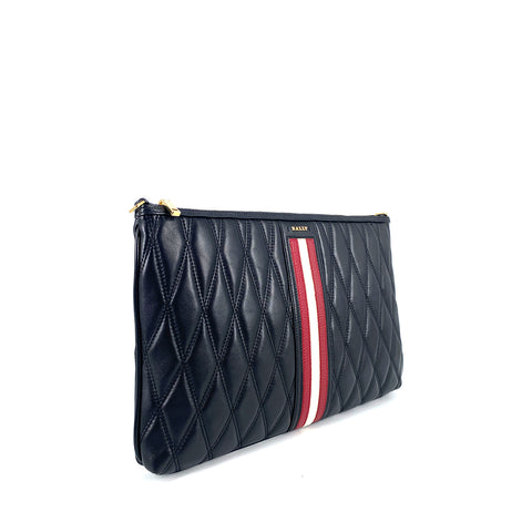 Bally Dylla Quilted Leather Clutch In Black