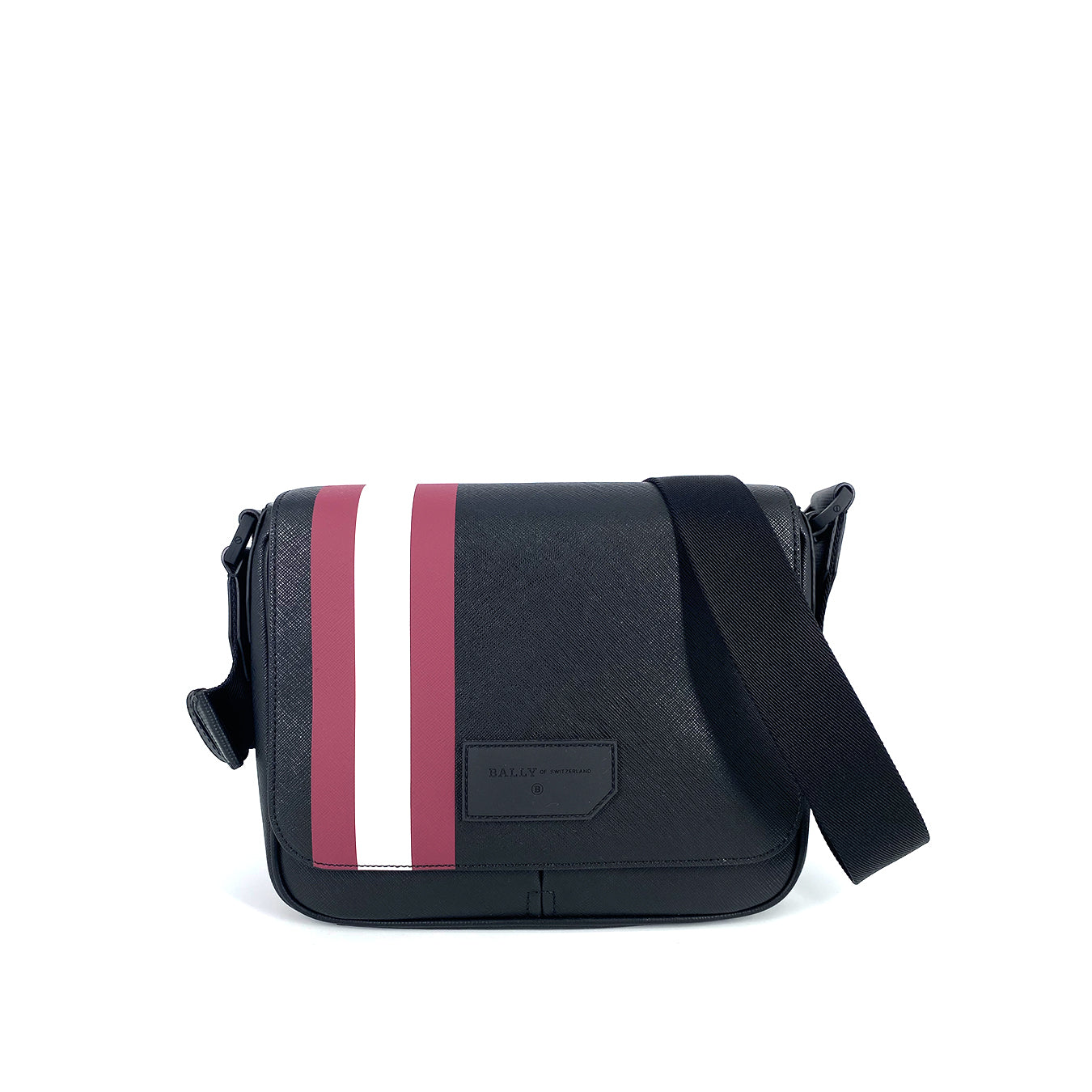 Bally Surier Coated Canvas Messenger Bag Black with Red Stripe