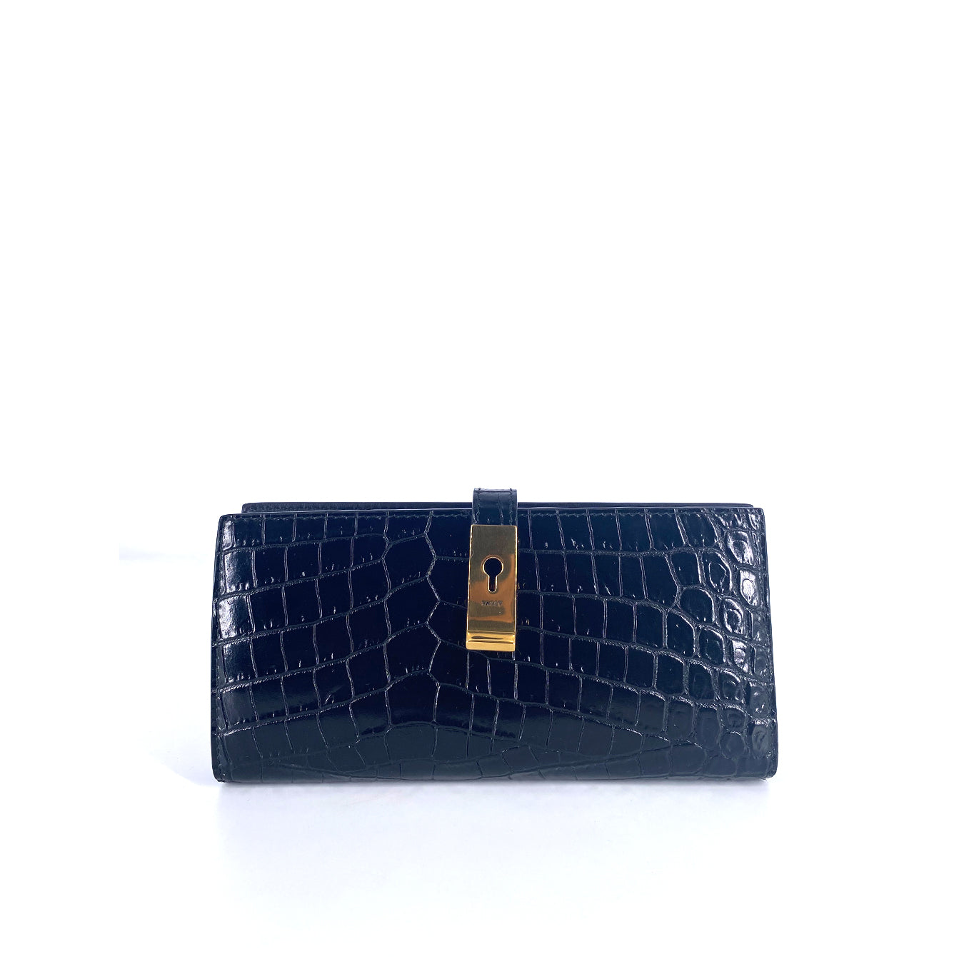 Bally Amy Black Long Wallet Croco Leather