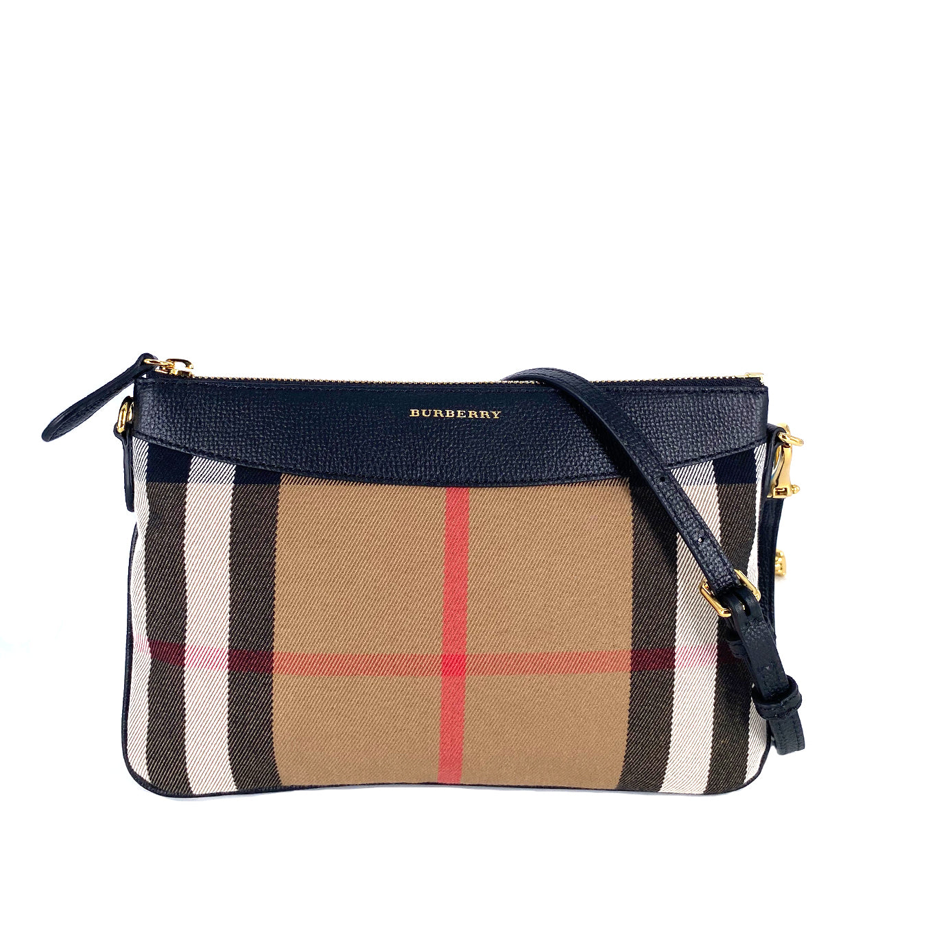 Burberry 'Peyton - House Check' Crossbody Bag in Black