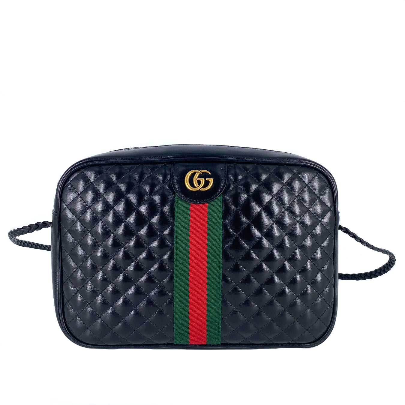 Gucci Black Quilted Zip Camera Crossbody Bag