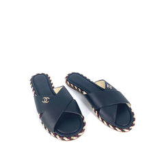 Chanel Lambskin Mules Slides Flat Sandals Black Size 38C