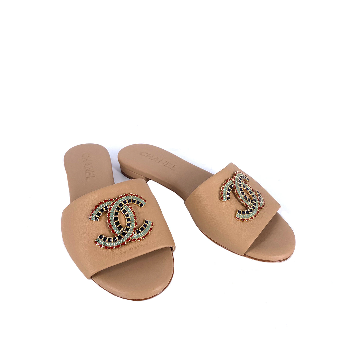 Chanel Mier Slippers with Logo CC Beige Size 36.5