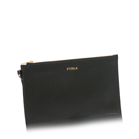 Babylon Leather Zip Clutch Onyx