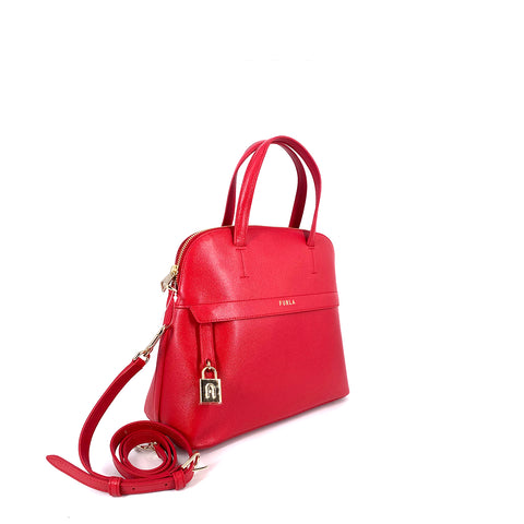 Furla Piper Dome Small Top Handle Satchel Ruby