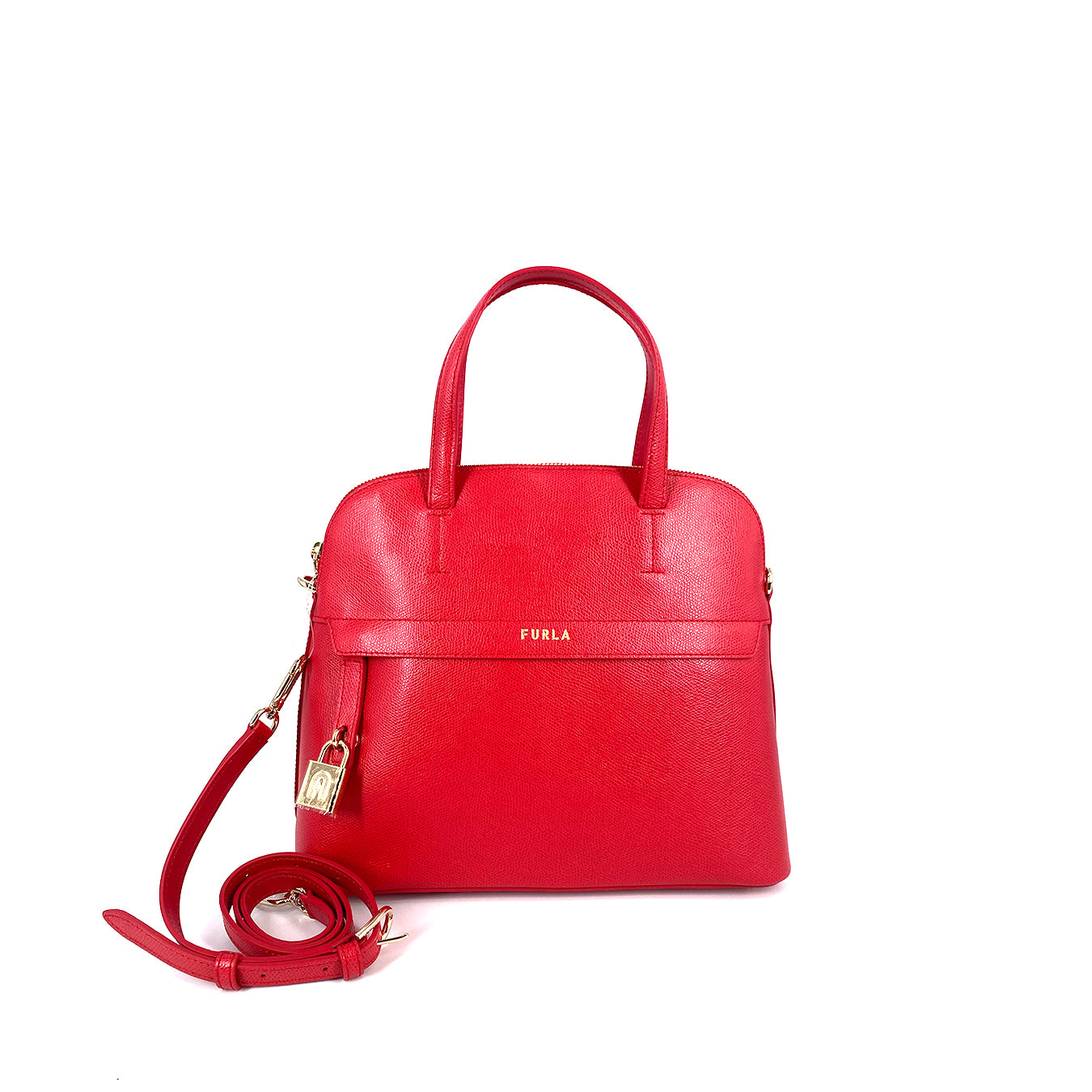 Furla Piper Dome Medium Top Handle Satchel Ruby