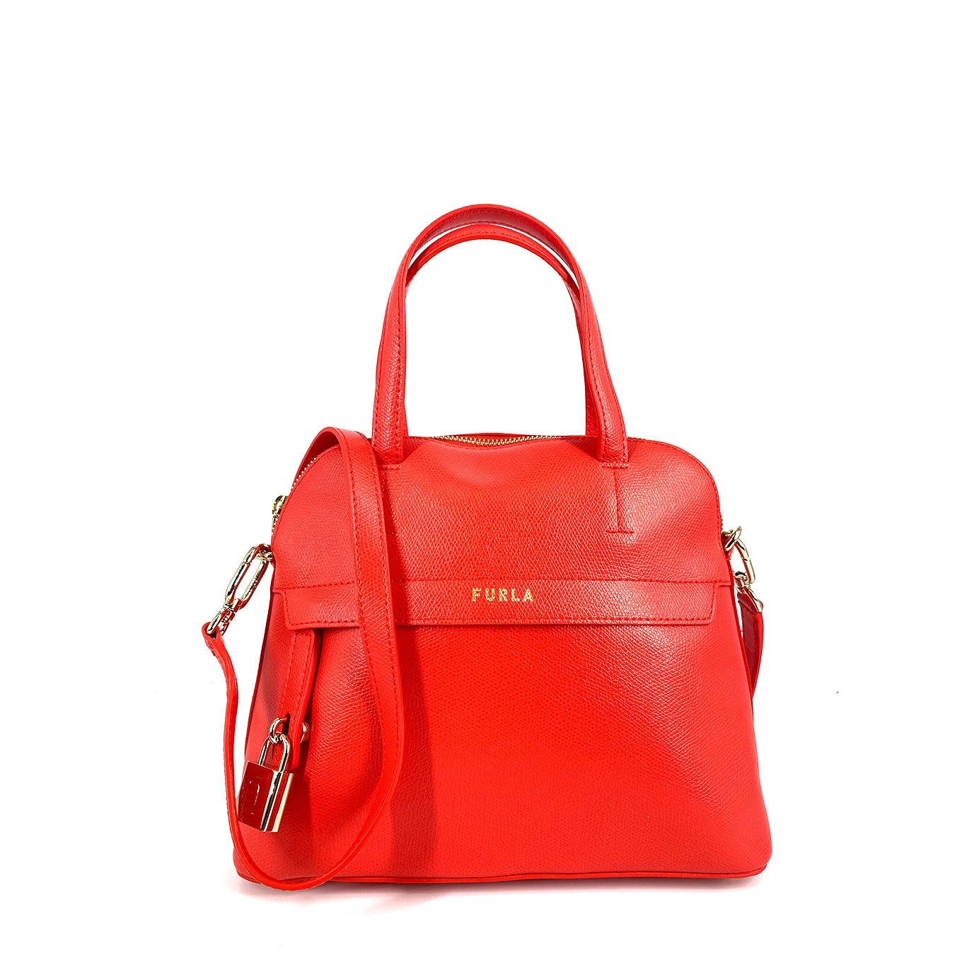 Furla Piper Dome Small Top Handle Satchel Fuoco