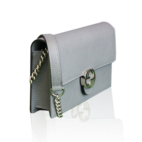 Interlocking GG Chain Wallet Grey