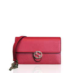 Gucci Interlocking GG Chain Wallet Red