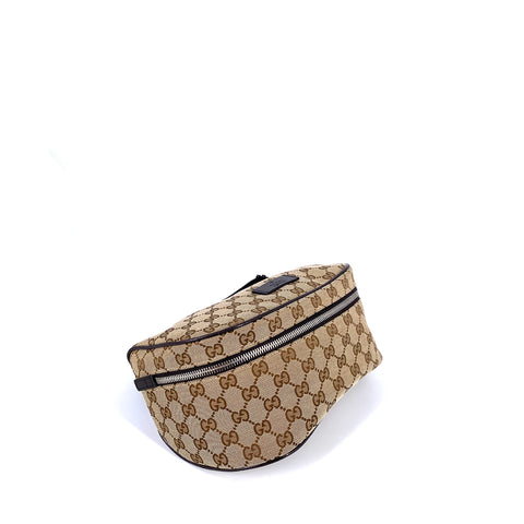 Gucci GG Canvas Leather Waist Bum Bag Brown