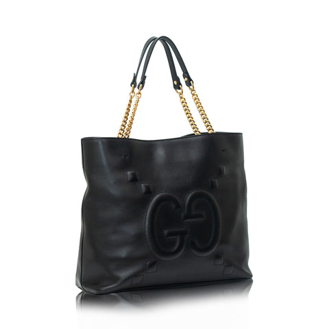 Apollo GG Embossed Leather Tote Black