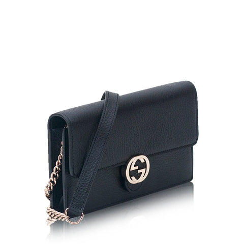 Interlocking GG Chain Wallet Black