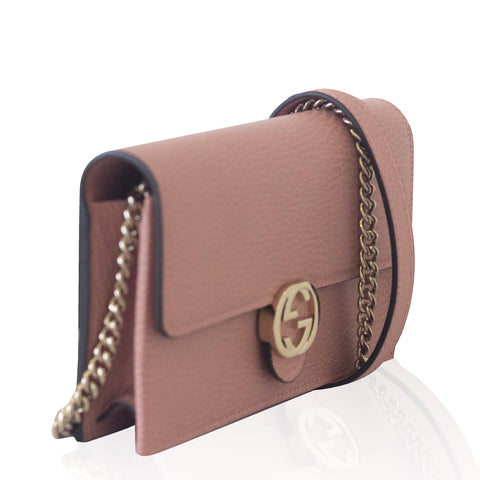 Interlocking GG Chain Wallet Pink