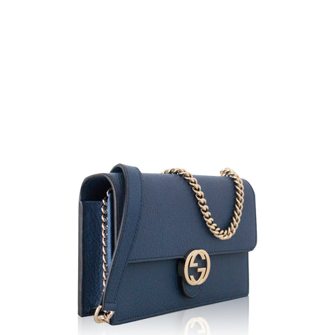 Interlocking GG Chain Wallet Navy