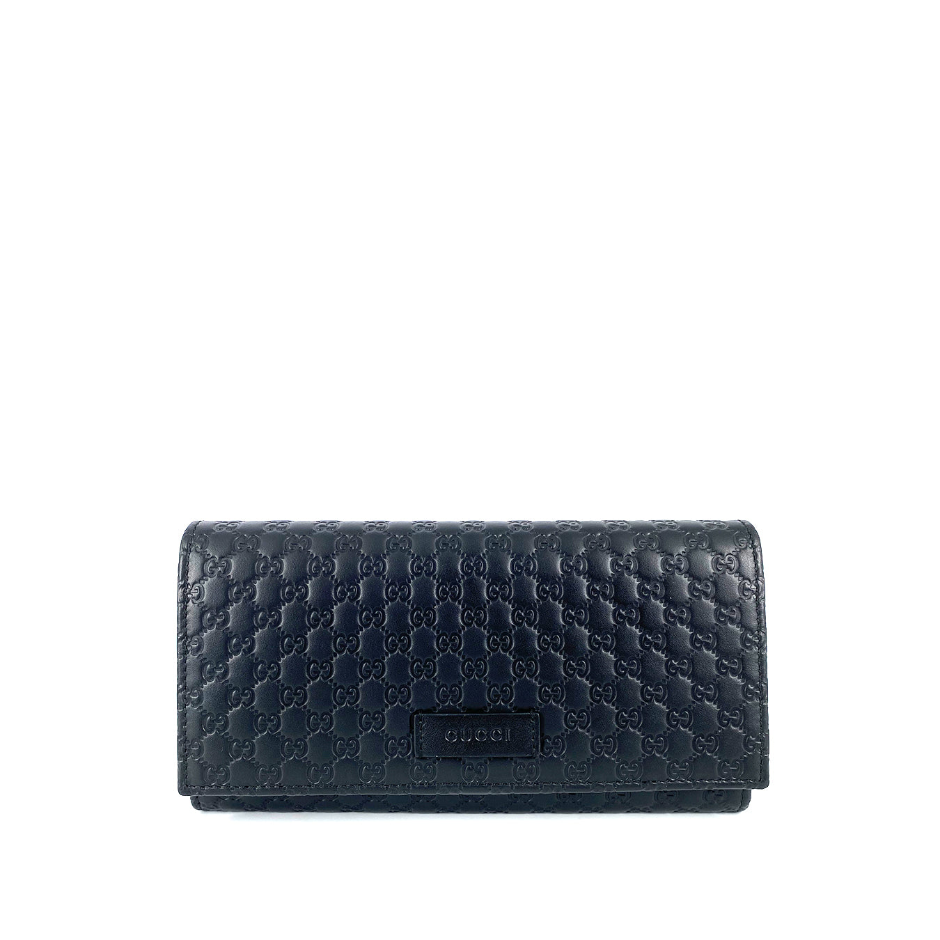 Gucci Microguccissima Continental Flap Long Bifold Leather Women's Wallet Black
