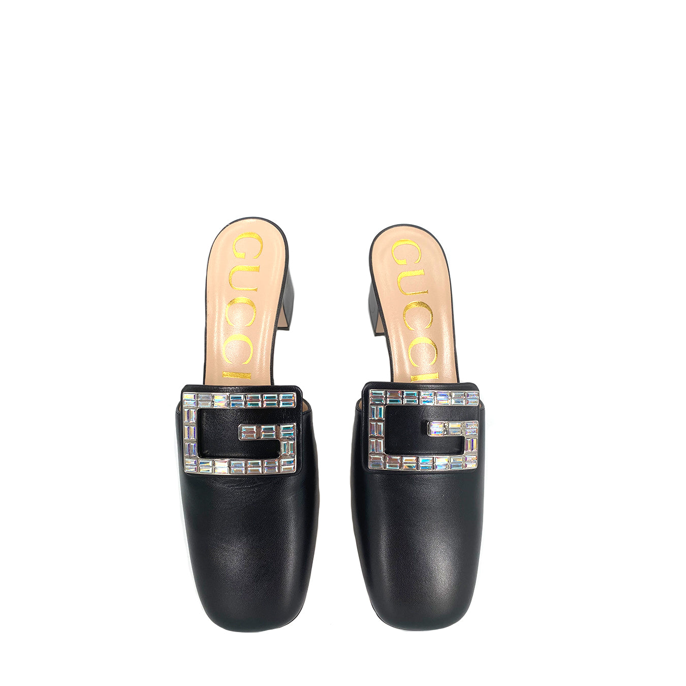 Gucci  Madelyn G Crystal Black Leather Mules Slides 551439
