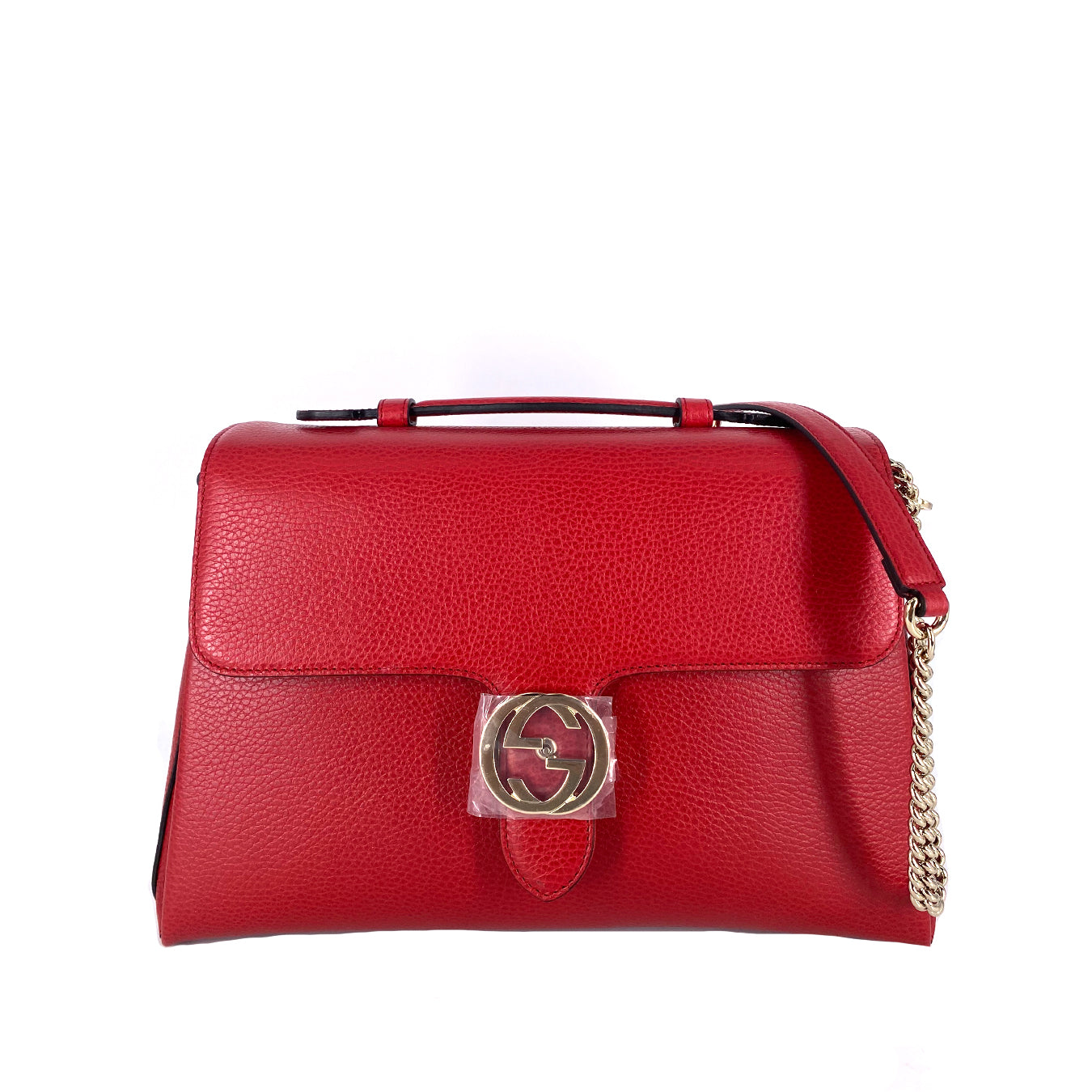 Gucci GG Interlocking Leather Chain Top Handle Bag Large in Red