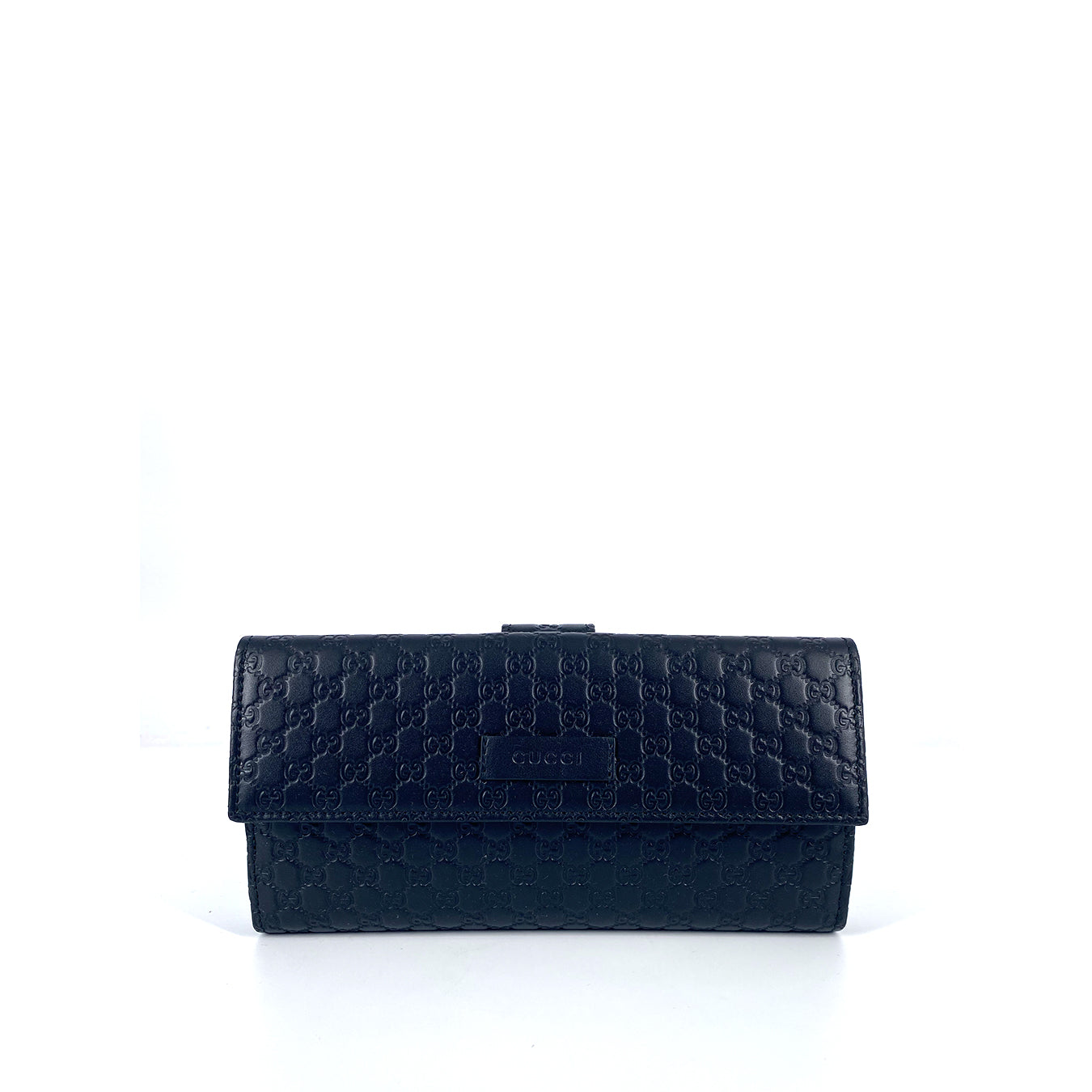 Gucci Microguccissima Continental Flap Long Trifold Leather Women's Wallet Black