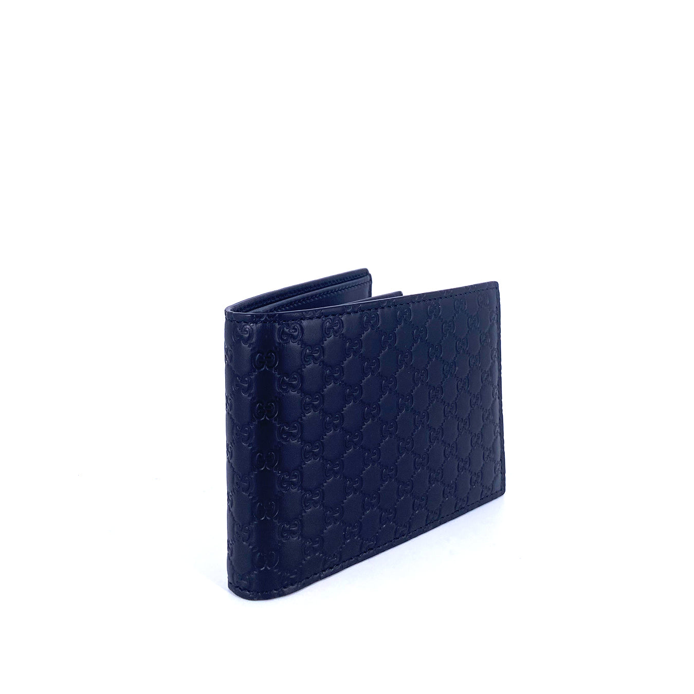 Gucci Microguccissima Men's Leather Trifold Wallet Black