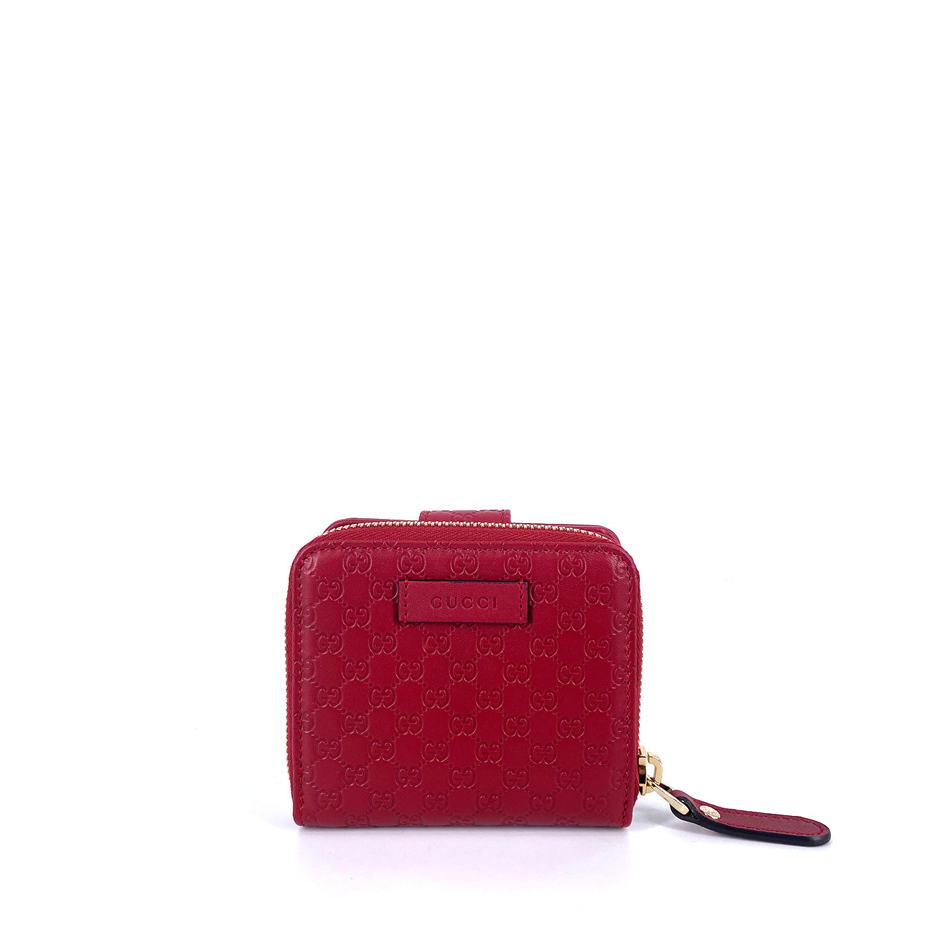 Gucci Microguccissima GG Logo Red Flap Zip Leather Wallet