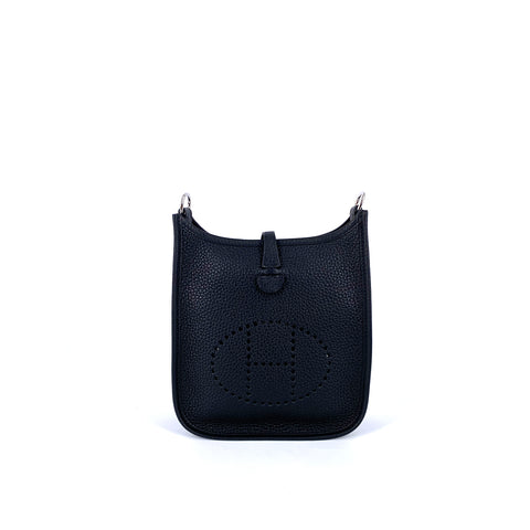 Hermes Evelyne Mini Taurillon Clemence in Black Silver Hardware