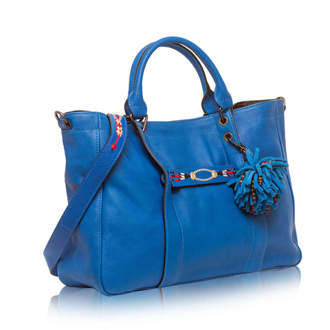 3D Massai Large Leather Satchel Blue