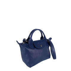 Longchamp Le Pliage Cuir Mini Top Handle Navy