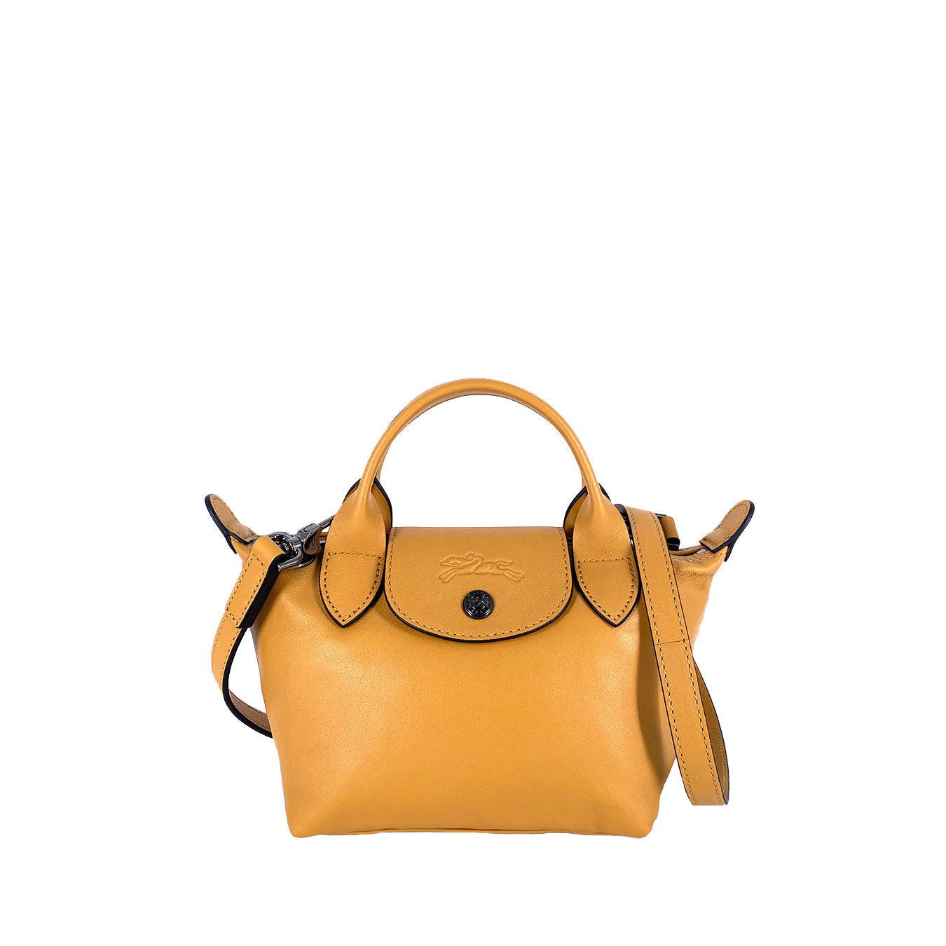 Longchamp Le Pliage Cuir Mini Top Handle Yellow