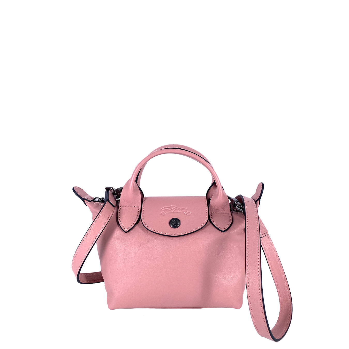 Longchamp Le Pliage Cuir Mini Top Handle Pink