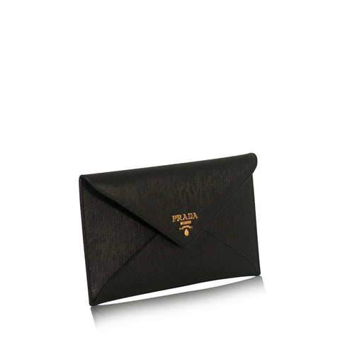 Prada 1MF175 Busta Con Pattina Vitello Move Envelope Nero