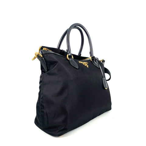 Prada 1BC060 Sacca Tessuto Manici Soft Calf Leather Nero