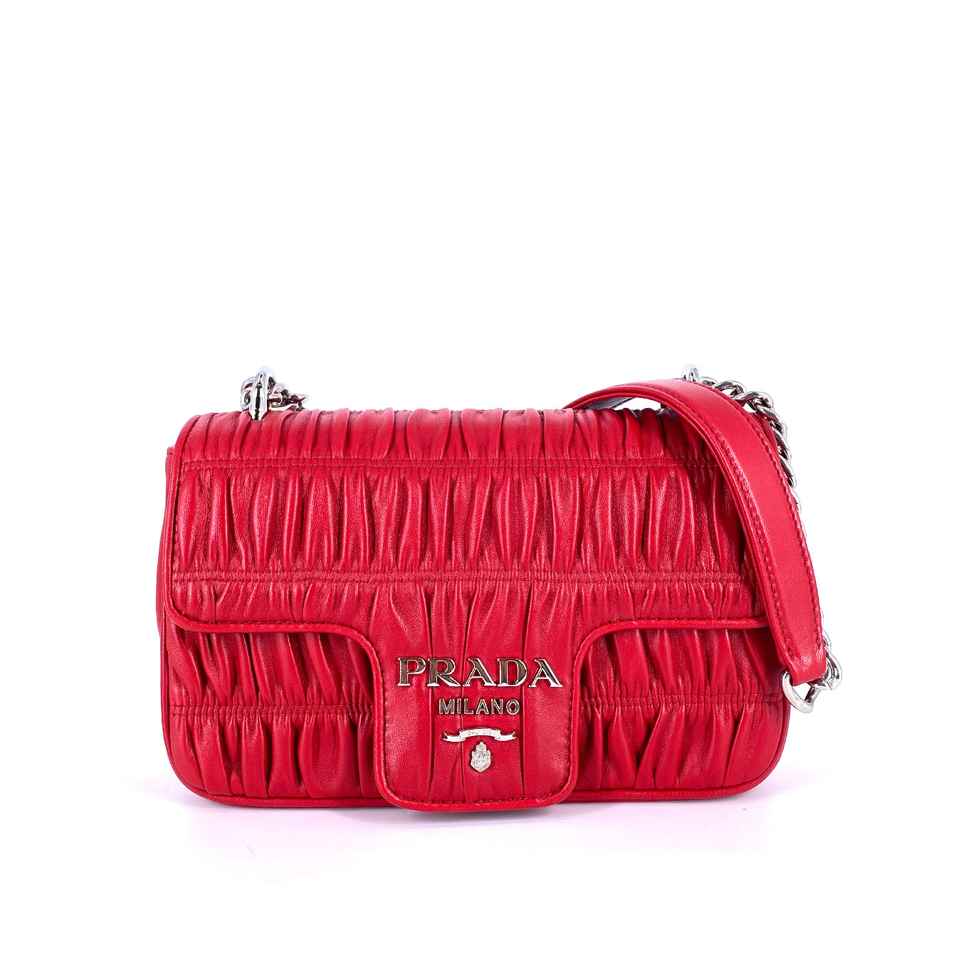 Prada 1BD140 Chain Crossbody Nappa Graufre Leather Red