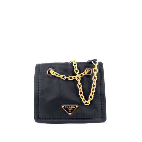Prada 1BD197 Pattina Tessuto Chain Small Nero